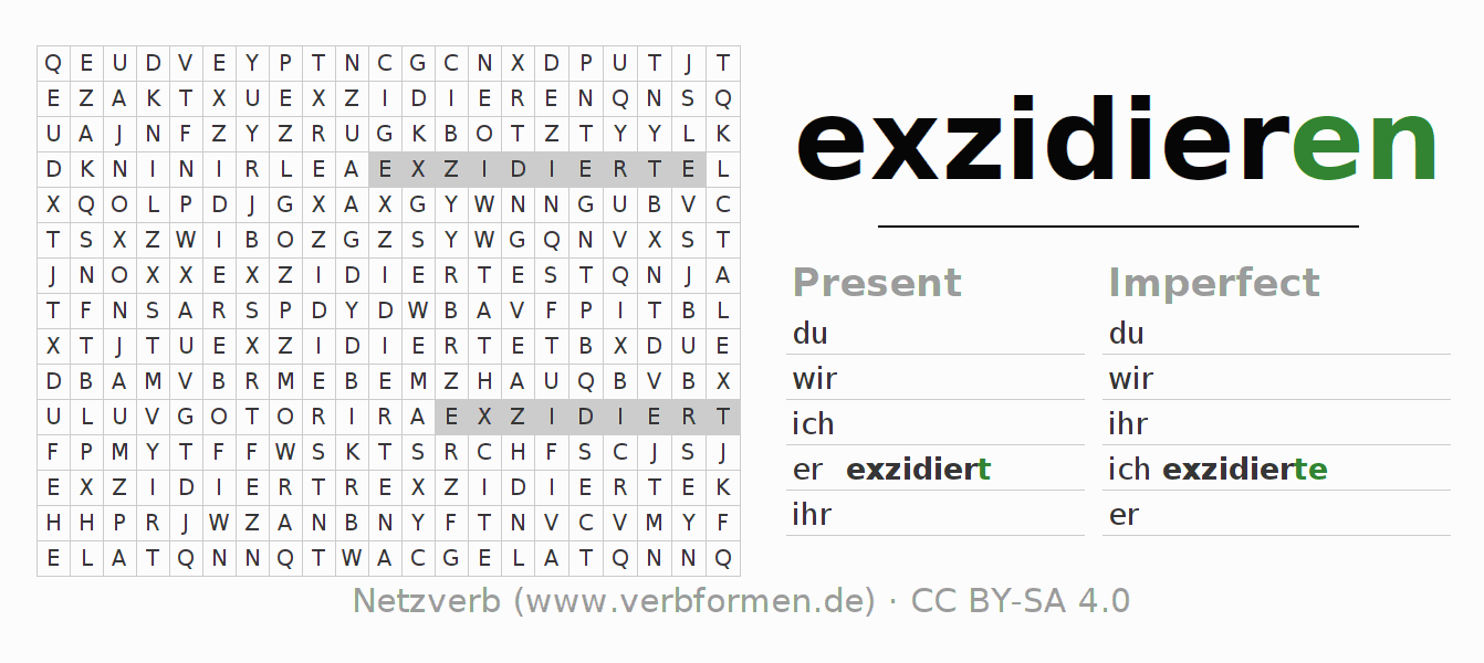 Word search puzzle for the conjugation of the verb exzidieren