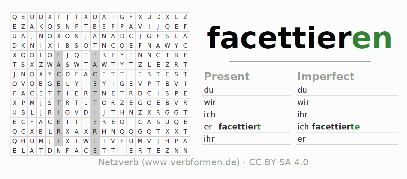 Word search puzzle for the conjugation of the verb facettieren