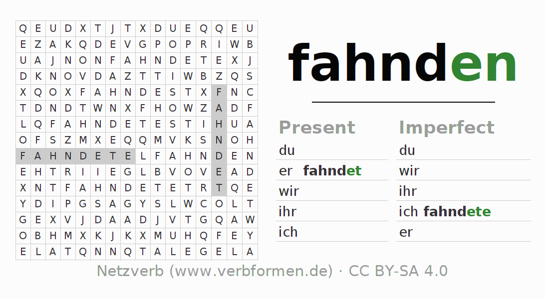 Word search puzzle for the conjugation of the verb fahnden
