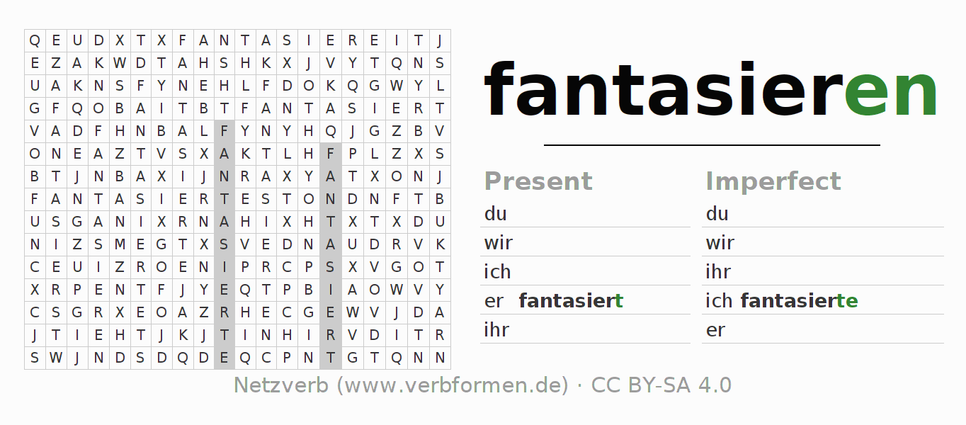 Word search puzzle for the conjugation of the verb fantasieren