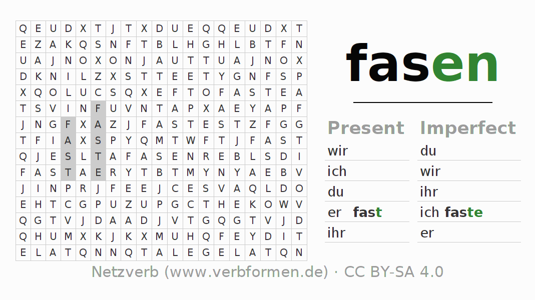 Word search puzzle for the conjugation of the verb fasen