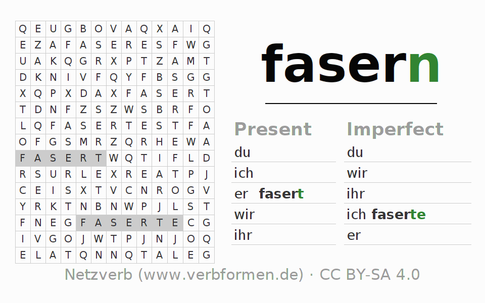 Word search puzzle for the conjugation of the verb fasern