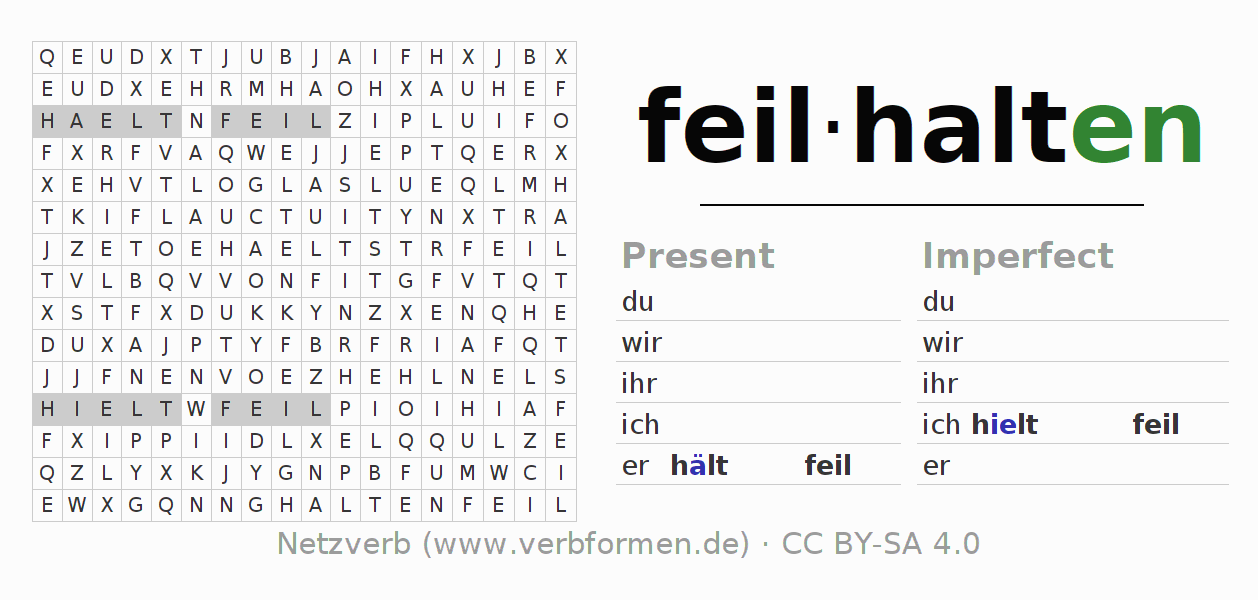 Word search puzzle for the conjugation of the verb feilhalten