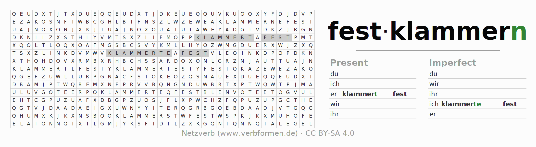 Word search puzzle for the conjugation of the verb festklammern