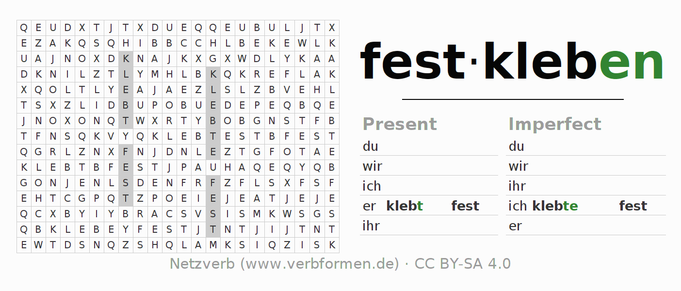 Word search puzzle for the conjugation of the verb festkleben (hat)