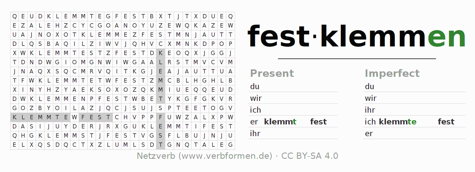 Word search puzzle for the conjugation of the verb festklemmen (hat)