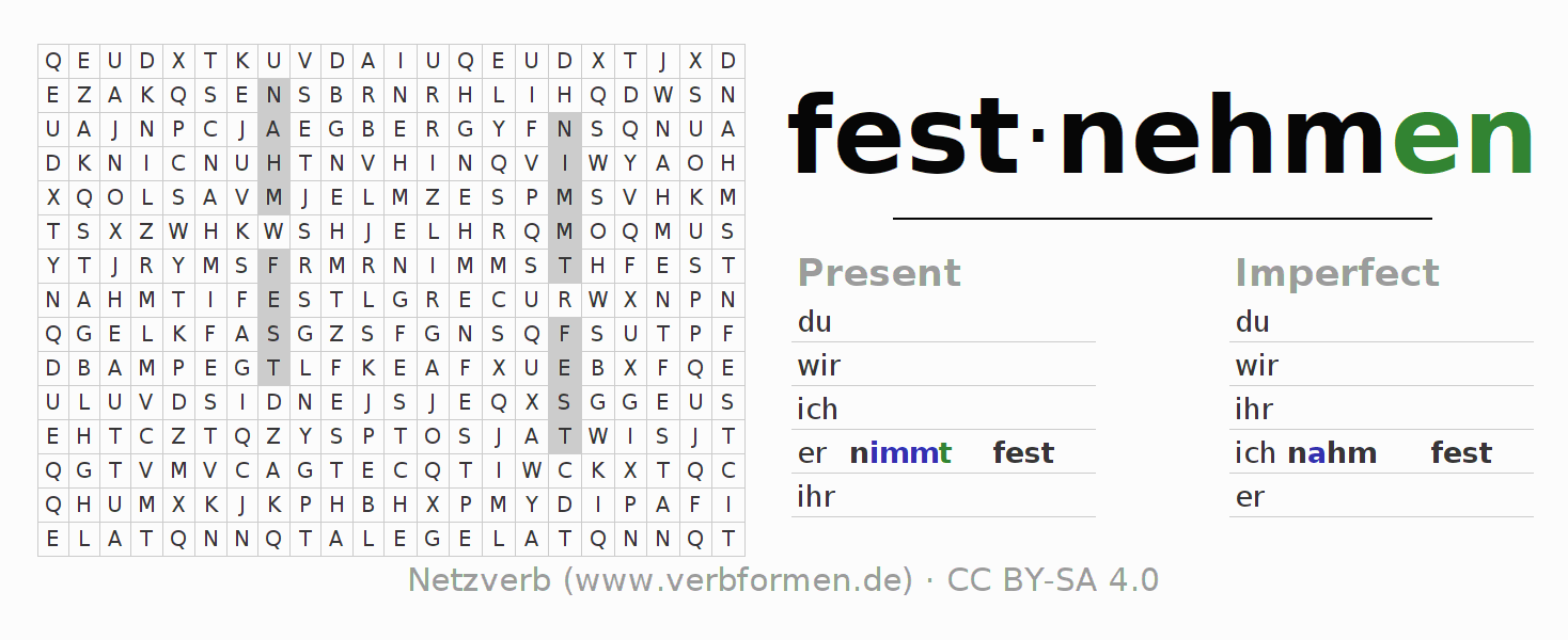 Word search puzzle for the conjugation of the verb festnehmen