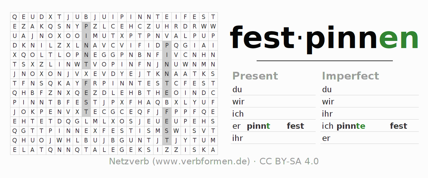Word search puzzle for the conjugation of the verb festpinnen