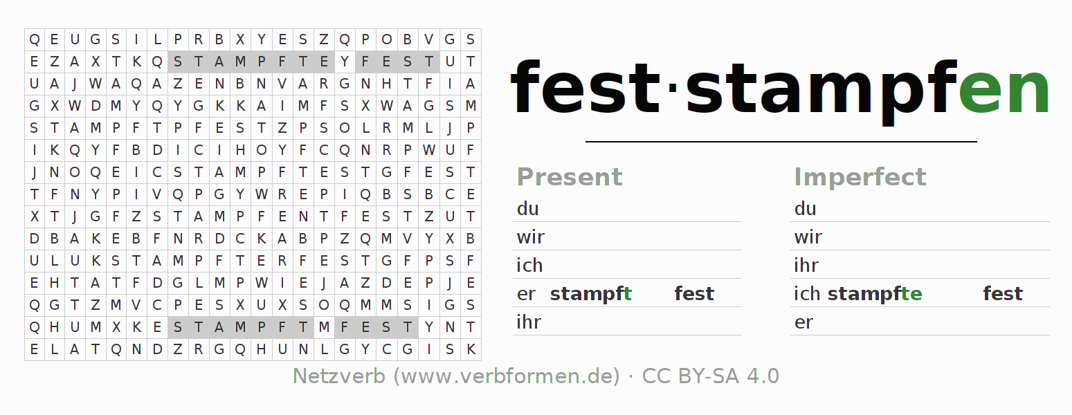 Word search puzzle for the conjugation of the verb feststampfen