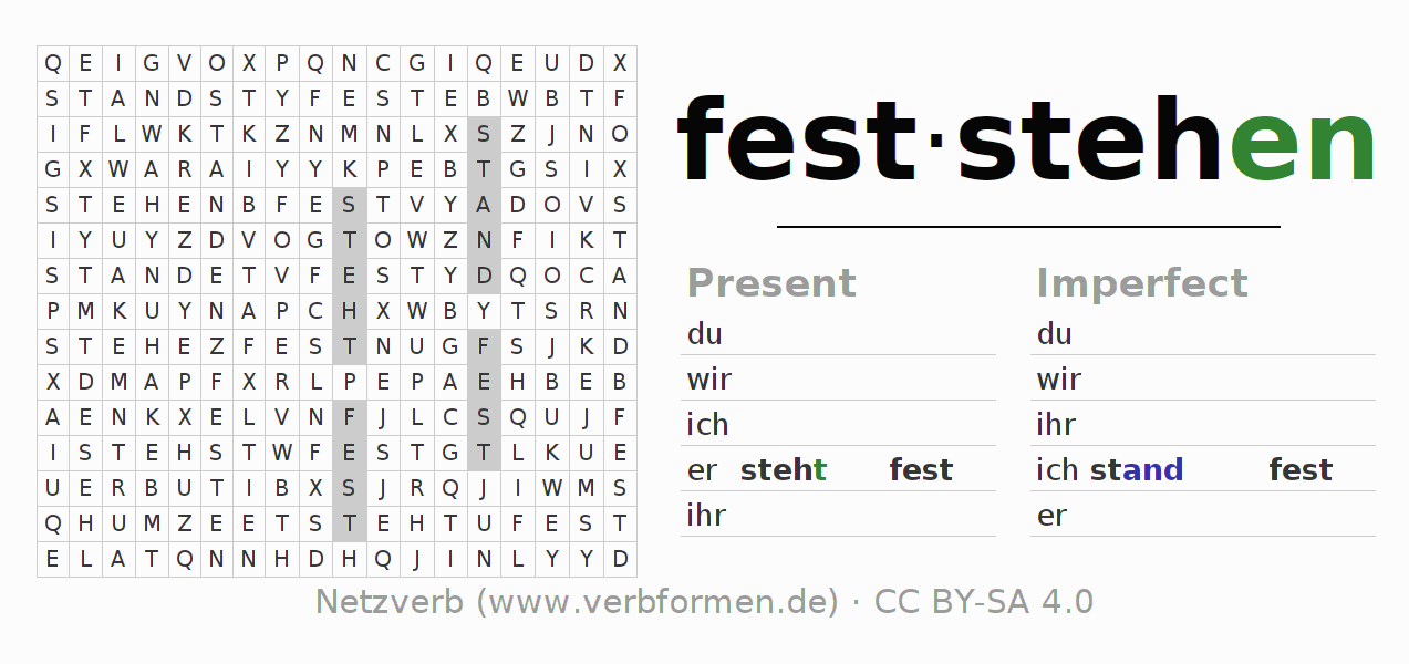 Word search puzzle for the conjugation of the verb feststehen (hat)