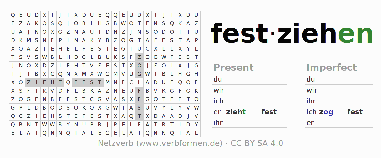 Word search puzzle for the conjugation of the verb festziehen