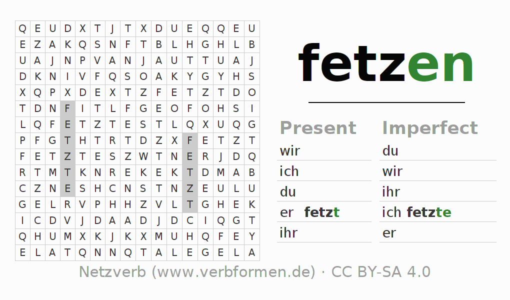 Word search puzzle for the conjugation of the verb fetzen (hat)