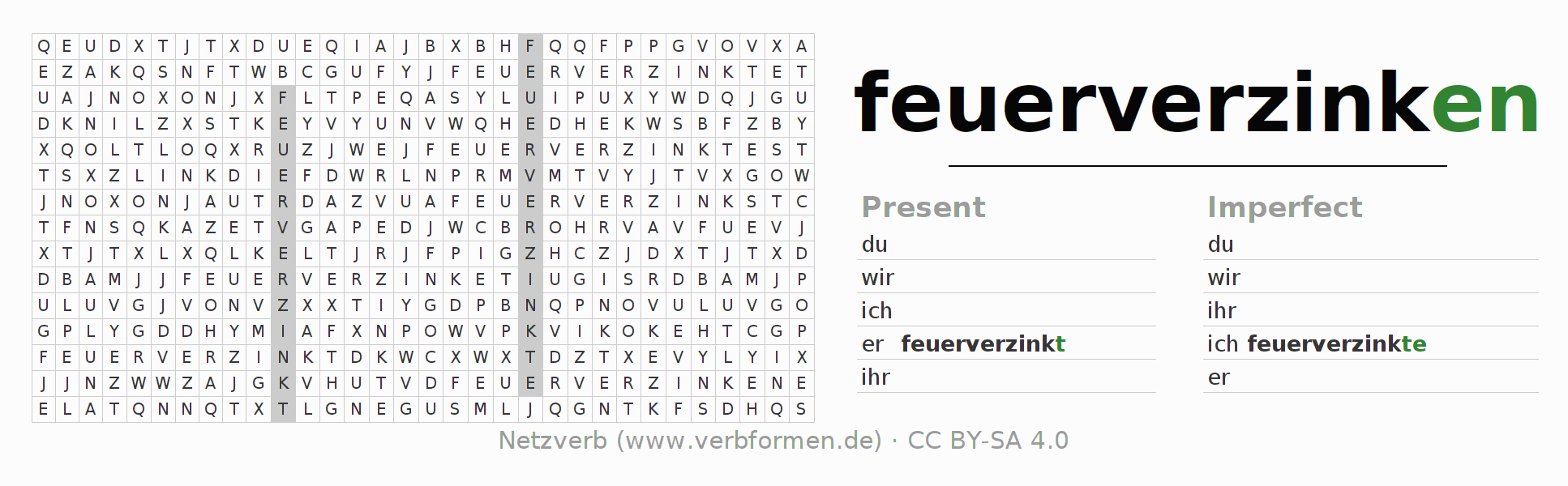 Word search puzzle for the conjugation of the verb feuerverzinken