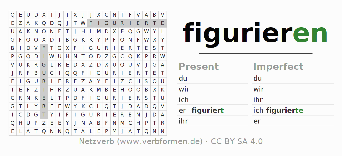 Word search puzzle for the conjugation of the verb figurieren