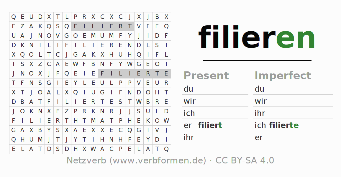 Word search puzzle for the conjugation of the verb filieren