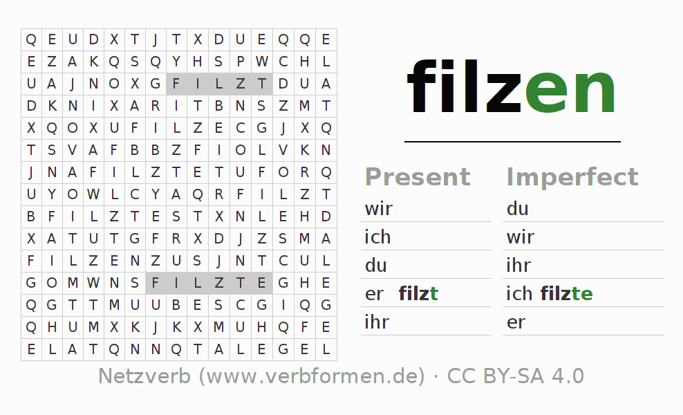 Word search puzzle for the conjugation of the verb filzen (hat)