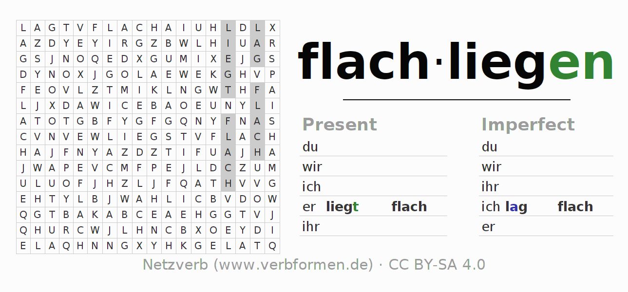 Word search puzzle for the conjugation of the verb flachliegen (ist)
