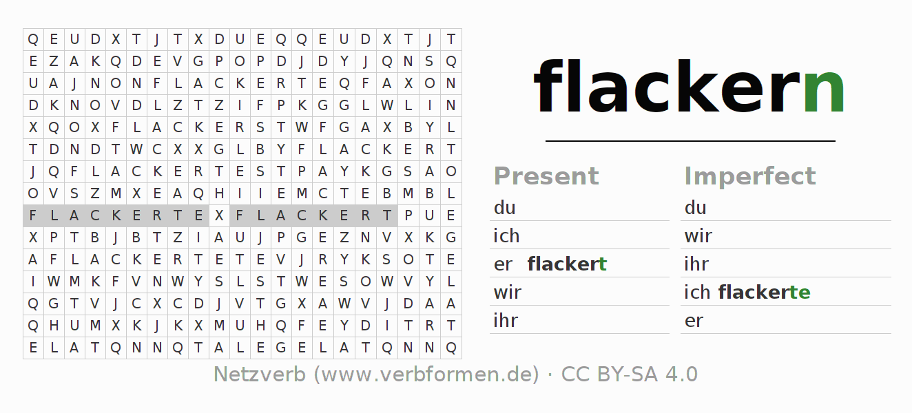 Word search puzzle for the conjugation of the verb flackern