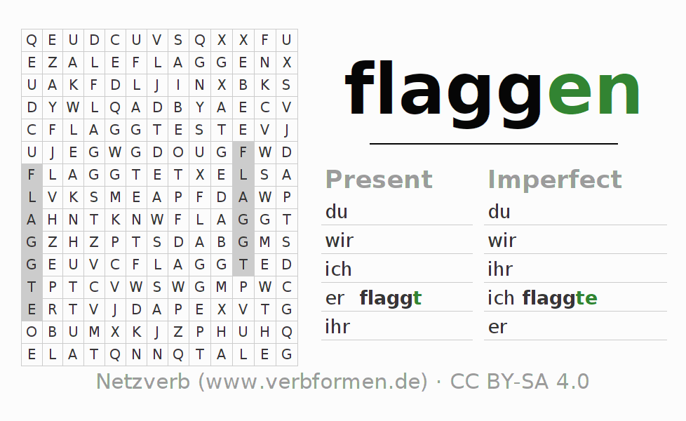 Word search puzzle for the conjugation of the verb flaggen