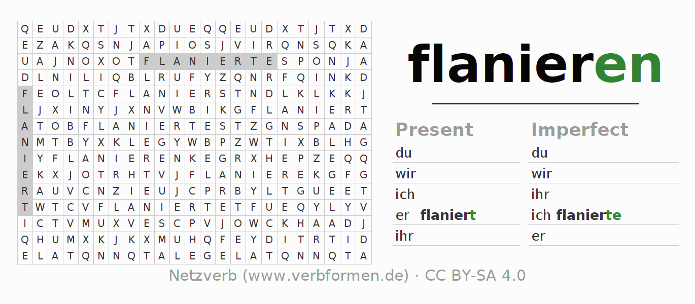 Word search puzzle for the conjugation of the verb flanieren (hat)