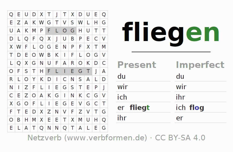Word search puzzle for the conjugation of the verb fliegen (hat)