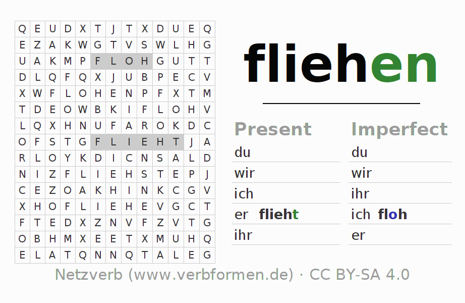 Word search puzzle for the conjugation of the verb fliehen (ist)