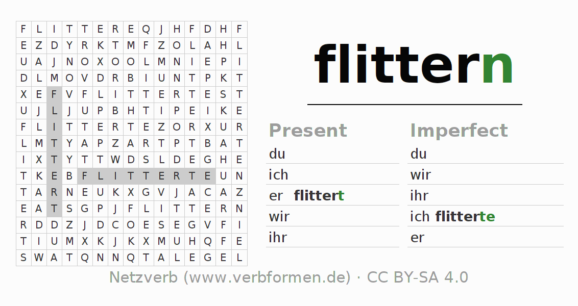 Word search puzzle for the conjugation of the verb flittern