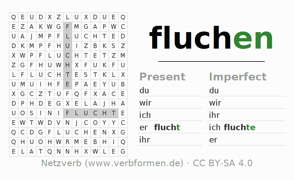 Word search puzzle for the conjugation of the verb fluchen
