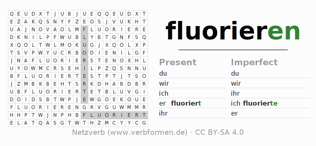 Word search puzzle for the conjugation of the verb fluorieren