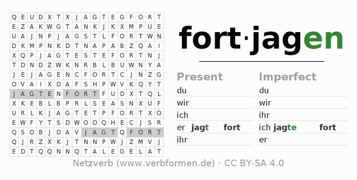 Word search puzzle for the conjugation of the verb fortjagen (hat)