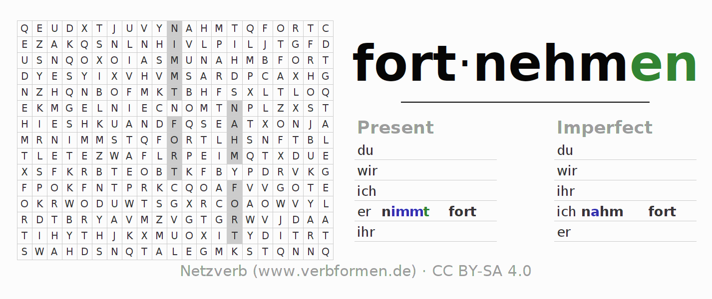 Word search puzzle for the conjugation of the verb fortnehmen