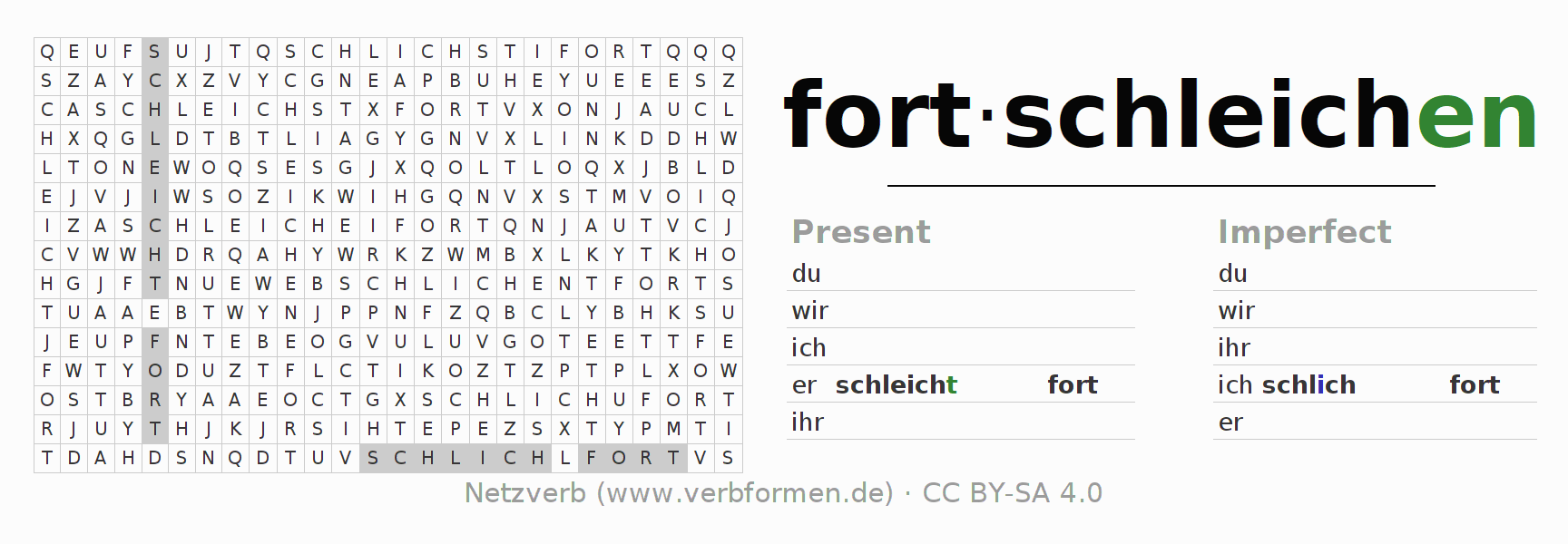 Word search puzzle for the conjugation of the verb fortschleichen (ist)