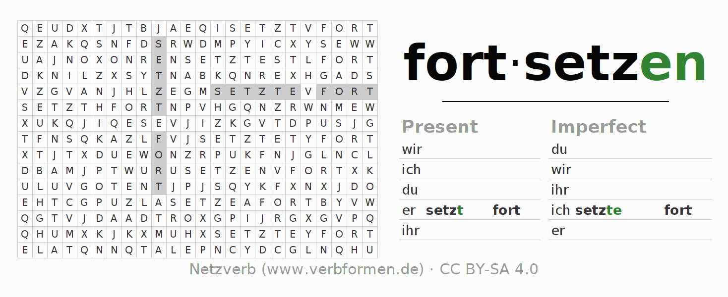 Word search puzzle for the conjugation of the verb fortsetzen