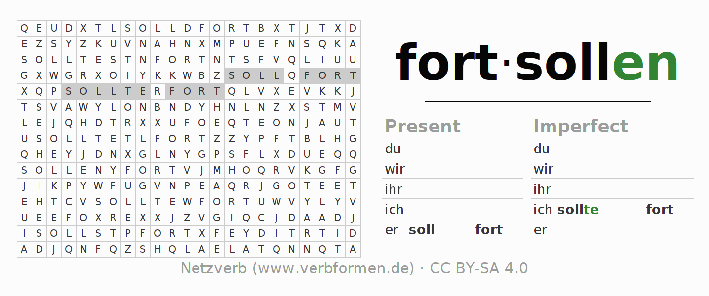 Word search puzzle for the conjugation of the verb fortsollen