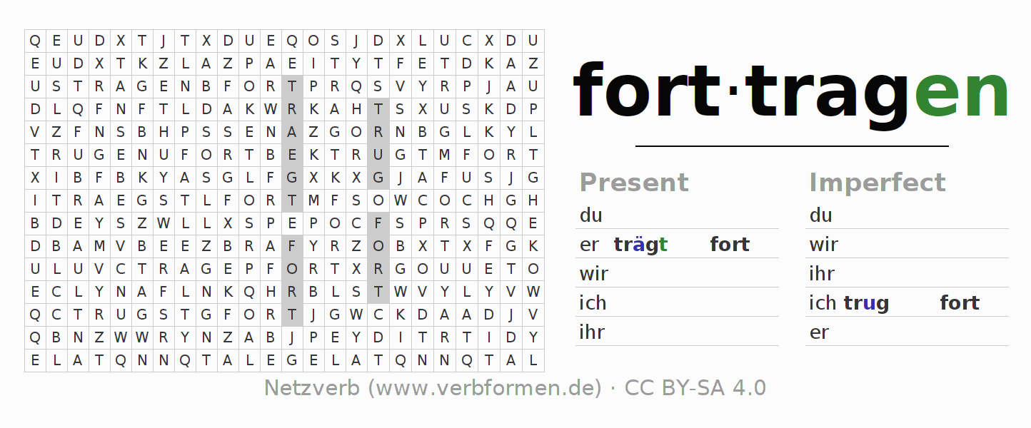 Word search puzzle for the conjugation of the verb forttragen
