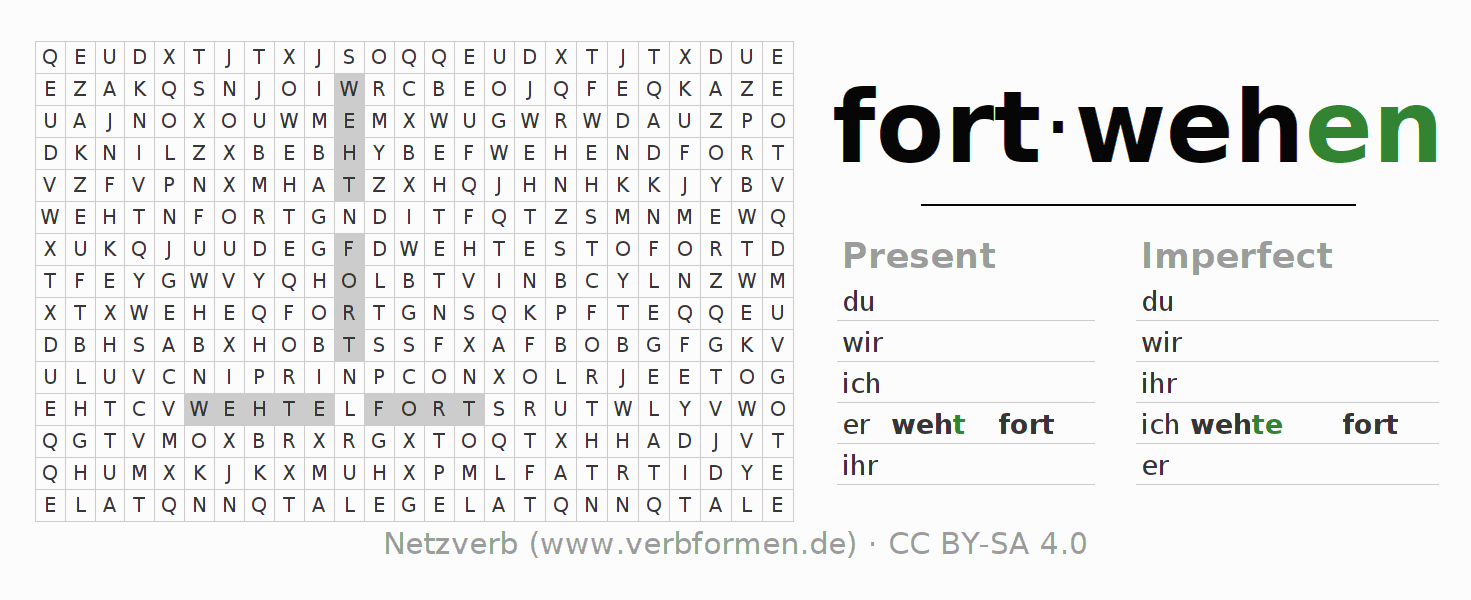 Word search puzzle for the conjugation of the verb fortwehen (ist)