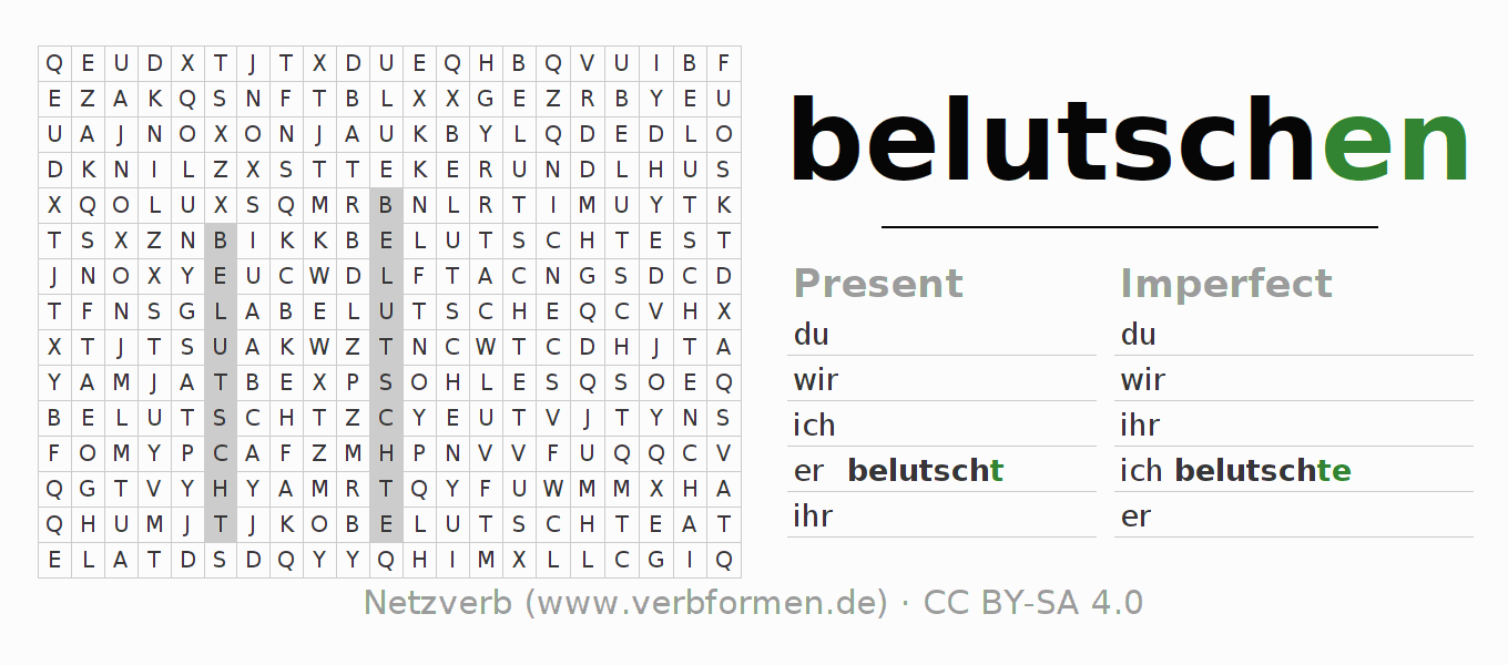 Word search puzzle for the conjugation of the verb belutschen
