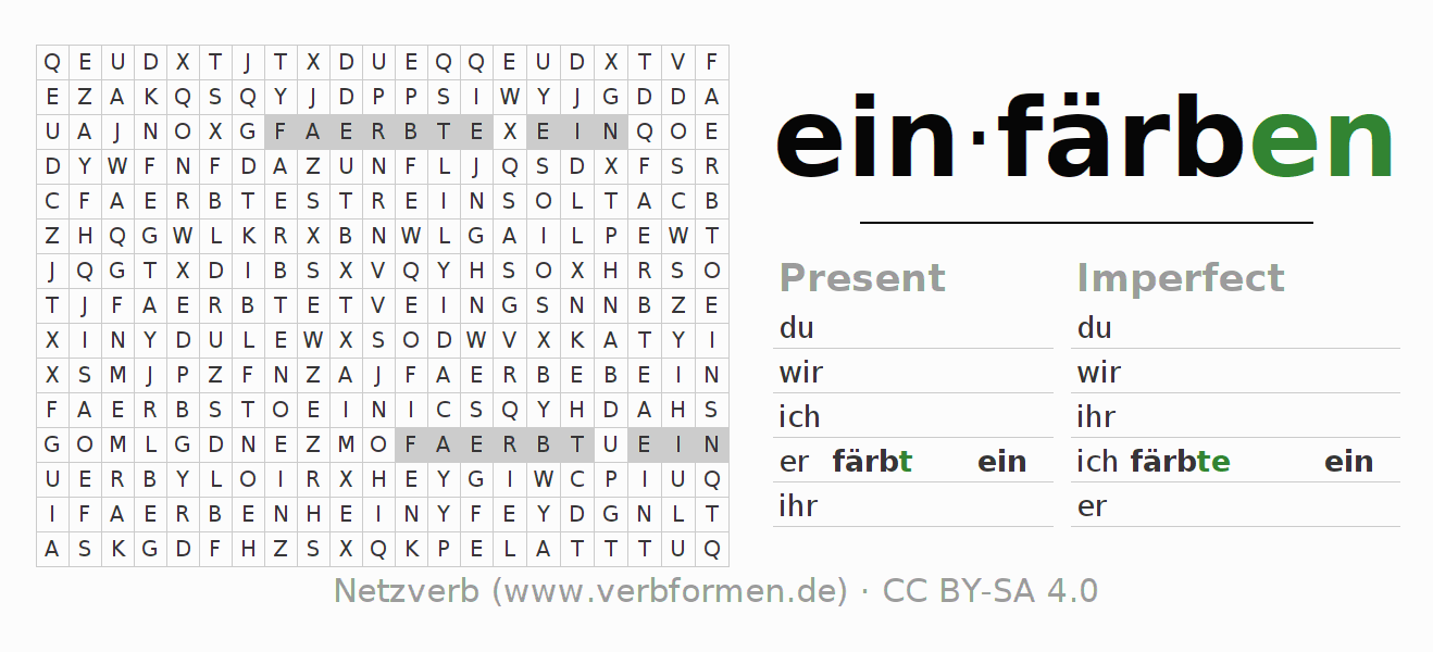 Word search   Verb einfärben   Puzzle for the conjugation of German ...