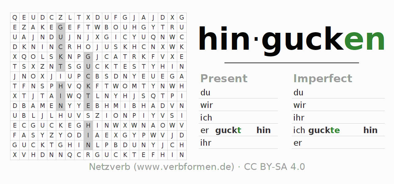 Word search puzzle for the conjugation of the verb hingucken