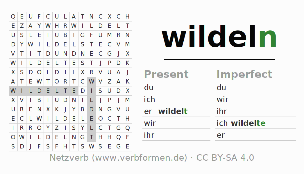 Word Search Verb Wildeln Puzzle For The Conjugation Of German Verbs Netzverb Interrogative