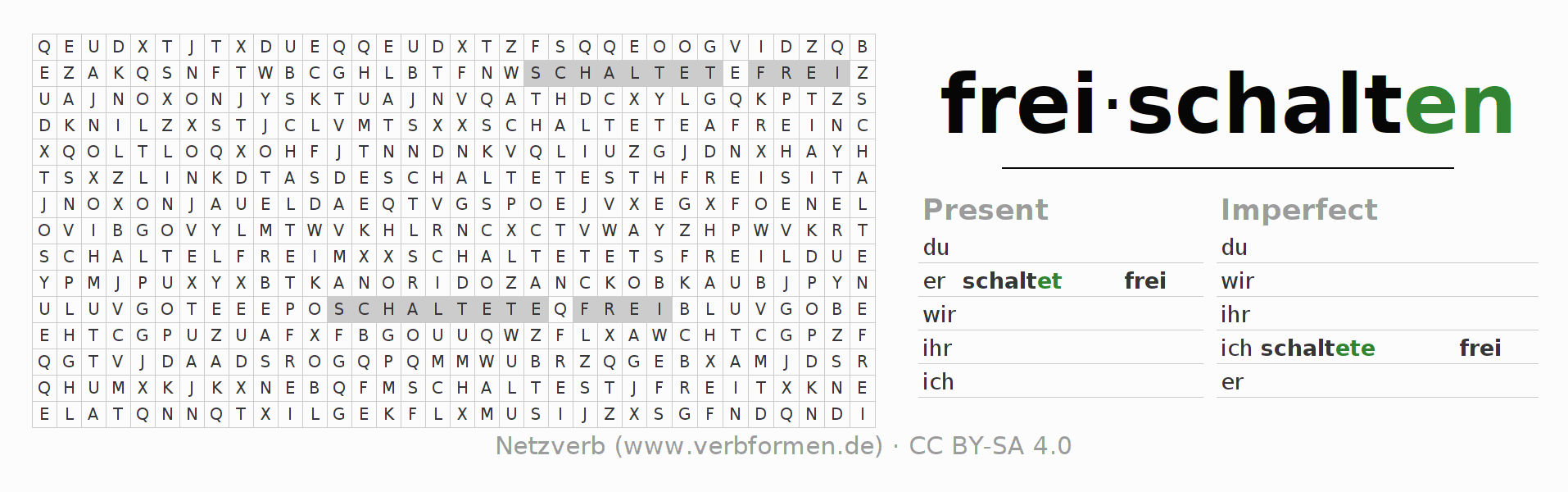 Word search puzzle for the conjugation of the verb freischalten
