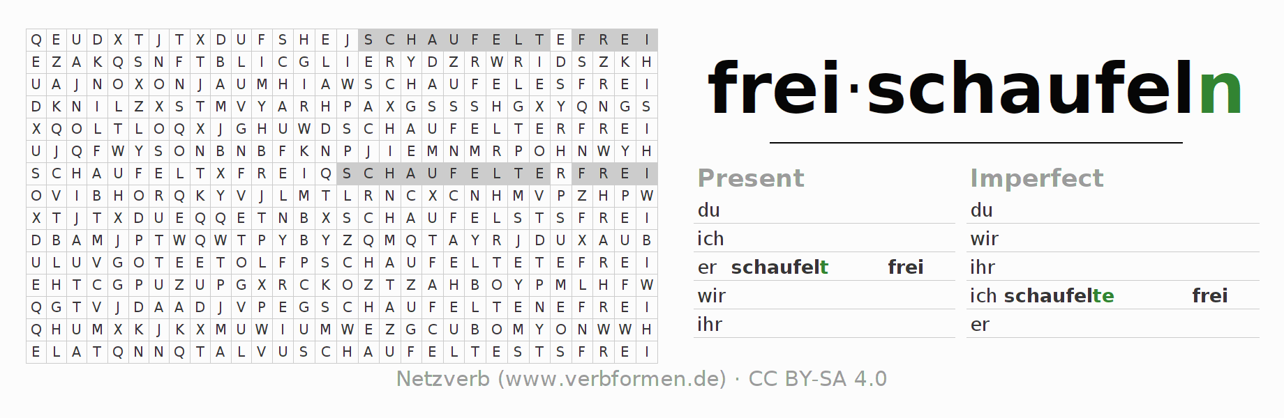 Word search puzzle for the conjugation of the verb freischaufeln