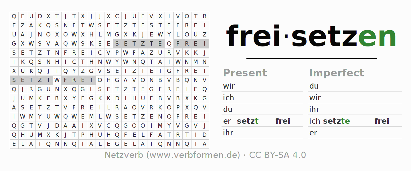 Word search puzzle for the conjugation of the verb freisetzen