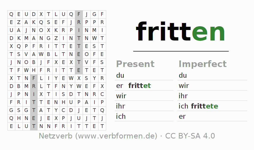 Word search puzzle for the conjugation of the verb fritten