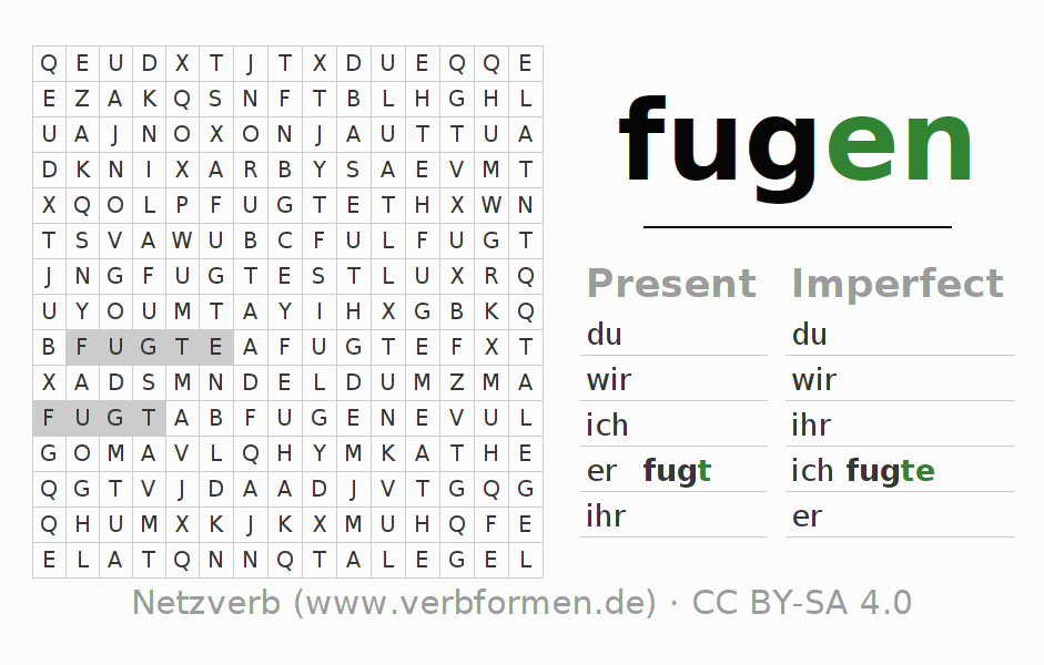 Word search puzzle for the conjugation of the verb fugen