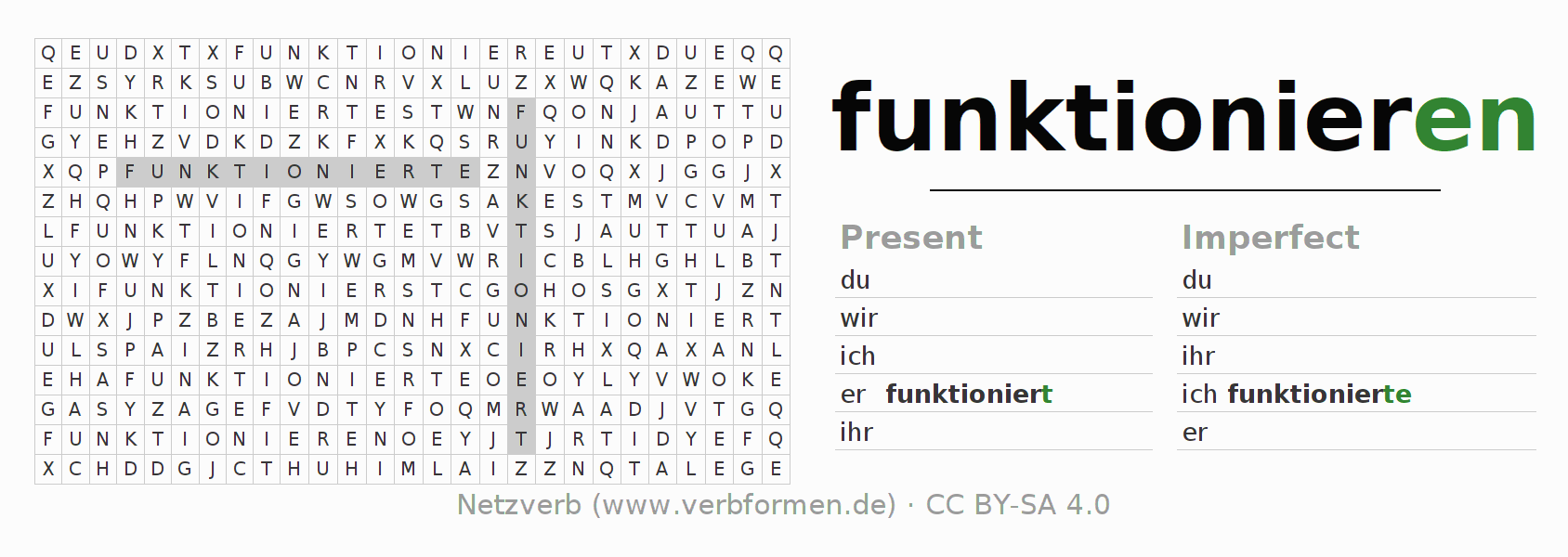 Word search puzzle for the conjugation of the verb funktionieren