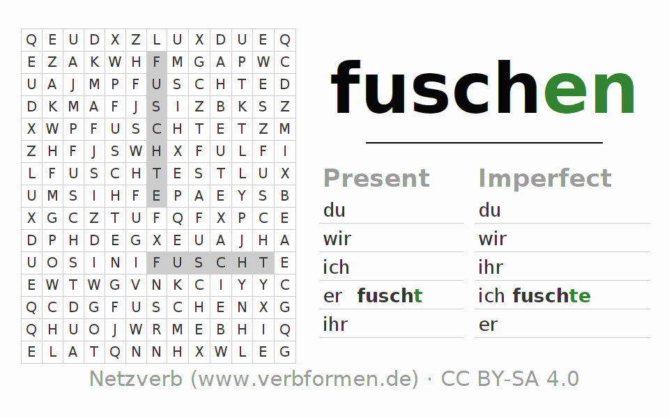 Word search puzzle for the conjugation of the verb fuschen