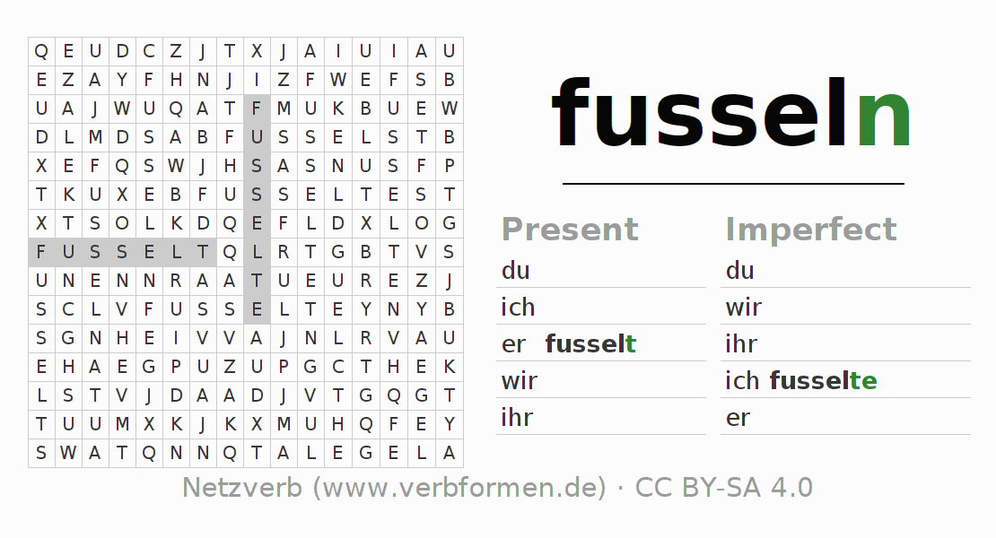 Word search puzzle for the conjugation of the verb fusseln