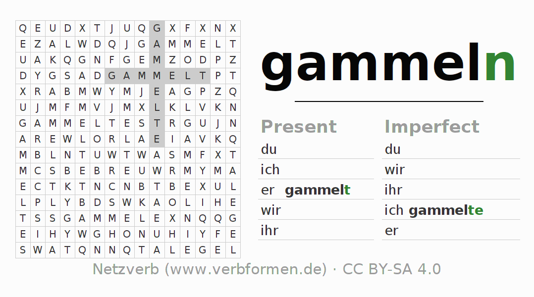 Word search puzzle for the conjugation of the verb gammeln