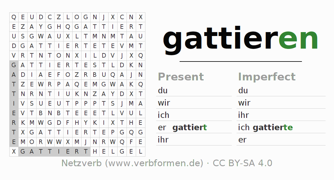 Word search puzzle for the conjugation of the verb gattieren